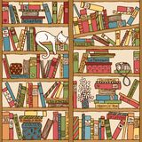 Hand drawn bookshelf with sleeping cat royalty free illustration