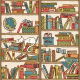 Hand Drawn Bookshelf With Sleeping Cat & Travel Books Stock Photos