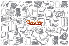 Hand drawn bookstore set with lettering Stock Photo