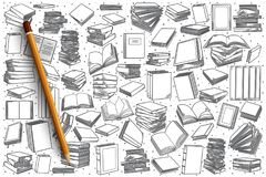 Hand drawn bookstore set background. Hand drawn bookstore vector doodle set background Royalty Free Stock Photos