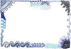 Hand drawn border sea waves water motifs. Border with sea waves and under water sealife motifs. Hand drawn doodles Royalty Free Stock Photo