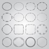 Hand Drawn Borders and Frames. Collection of Hand Drawn Doodle Vintage Borders and Frames. Vector Illustration Stock Image