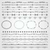 Hand Drawn Borders and Frames. Collection of Seamless Hand Drawn Doodle Vintage Borders and Frames. Vector Illustration with Pattern Brashes Royalty Free Stock Image