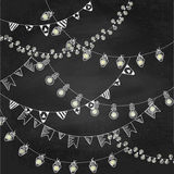 Hand drawn borders,garlands on chalk board texture Royalty Free Stock Photography
