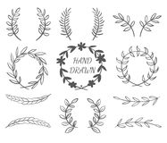 Hand Drawn Borders. Hand Drawn Vector Set Of Wreaths For Invitations, Greeting Cards And Designs Royalty Free Stock Photo
