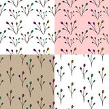 Hand Drawn Botanic Repeating Seamless Pattern. Royalty Free Stock Image