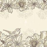 Hand drawn botanical theme horizontal seamless border with bird Royalty Free Stock Photos