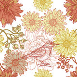 Hand drawn botanical theme seamless pattern with bird Royalty Free Stock Photos