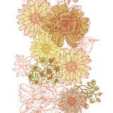 Hand drawn botanical theme vertical seamless border. With bird . All objects are conveniently grouped and are easily editable stock illustration