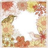 Hand drawn botanical theme vignette with birds Stock Image