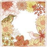 Hand drawn botanical theme vignette with birds Stock Image