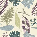 Hand drawn botany vector seamless pattern. Vintage background. Hand drawn botany vector seamless pattern. Vintage background with exotic plants Stock Image