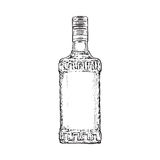 Hand drawn bottle full of tequila, isolated vector illustration Stock Photos