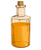 Hand drawn bottle with oil. VECTOR illustration. Yellow-orange Royalty Free Stock Photography