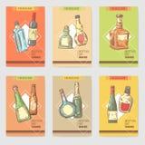 Hand Drawn Bottles Alcoholic Menu Design. Wine, Cognac Bottle Sketch. Vector illustration vector illustration