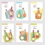 Hand Drawn Bottles Alcoholic Menu Design. Wine, Cognac Bottle Sketch. Vector illustration stock illustration