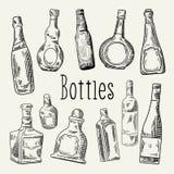 Hand Drawn Bottles Doodle. Wine, Cognac Bottle Sketch. Vector illustration Royalty Free Stock Photos