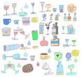 Hand drawn bottles and glasses Stock Photo