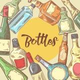 Hand Drawn Bottles Menu Design. Wine, Cognac Bottle Sketch. Vector illustration royalty free illustration