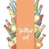 Hand Drawn Bottles Menu Design. Wine, Cognac Bottle Sketch. Vector illustration vector illustration
