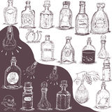 Hand drawn bottles Stock Image