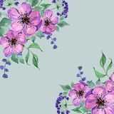 Hand drawn bouquet of pink flowers. Watercolor stock illustration