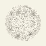 Hand drawn bouquet of roses. Royalty Free Stock Photography