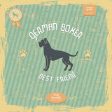 Hand drawn Boxer dog vintage typography poster Royalty Free Stock Images
