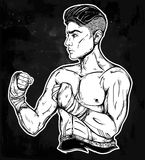 Hand drawn boxer fighter, player illustration. Royalty Free Stock Image