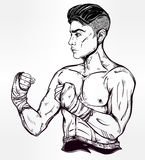 Hand drawn boxer fighter, player illustration. Stock Image
