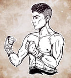 Hand drawn boxer fighter, player illustration. Stock Images