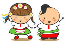 Hand-Drawn Boy and Girl Dance On A White Background, Cartoon Doodle. Ukraine Stock Photography