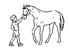 Hand Drawn Boy And Horse Royalty Free Stock Photos