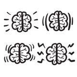 Hand drawn brain set vector icon illustration Stock Photo