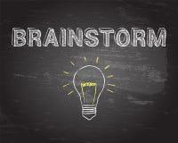 Brainstorm Light Bulb Blackboard Royalty Free Stock Photos