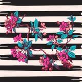 Hand drawn branch flower roses sakura vintage print on stripes w Stock Photos