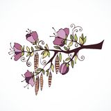 Hand drawn branch with flowers. And swirls Royalty Free Stock Photo