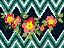 Hand drawn branche flower roses tropical vintage print on stripe. S zigzag pattern, grunge retro background vector illustration design for fashion, shirt Stock Photos