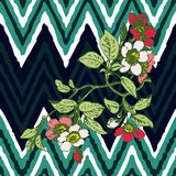 Hand drawn branche flower roses tropical vintage print on stripe. S zigzag pattern, grunge retro background vector illustration design for fashion, shirt Royalty Free Stock Photo