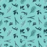 Hand drawn branches. Seamless background Royalty Free Stock Photos
