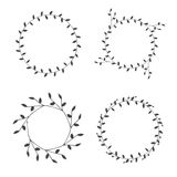 Hand-drawn branches wreaths graphic design elements set. Useful for wedding invitations, congratulations and greeting cards Stock Photos