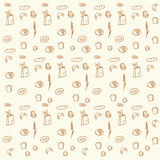 Hand drawn bread and bakery doodles seamless pattern background. Stock Image