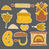 Hand drawn bread harvest objects Stock Images