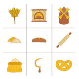 Hand drawn bread harvest objects Stock Photo