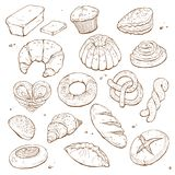 Hand drawn bread. Isolated on white background. Bakery objects vector illustration in sketch style stock illustration