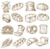 Hand drawn bread. Vector hand drawn bread icons set on white vector illustration