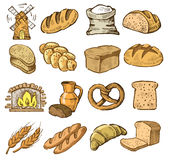 Hand drawn bread. Vector hand drawn bread icons set on white royalty free illustration