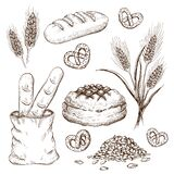 Hand drawn breads set isolated on white. vintage illustration of variety bread like french baguette, round rustic bread