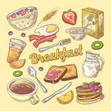 Hand Drawn Breakfast Doodle with Toasts and Pancakes. Healthy Food Stock Photos