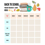 Hand drawn breakfast food and icons doodle set. School lunch menu. Stock Photos